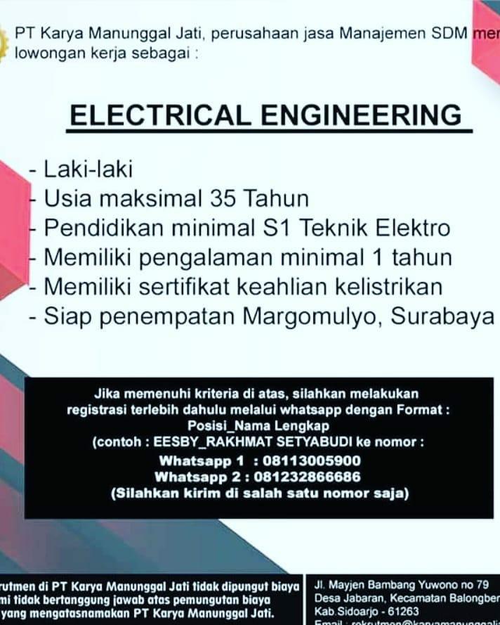 Loker Pt Karya Manunggal Jati Electrical Engineering Dan Welder